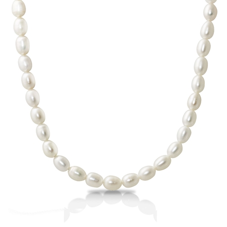 6MM Cultured White Pearl 925 Sterling Silver 18-20 Inch Adjustable Necklace