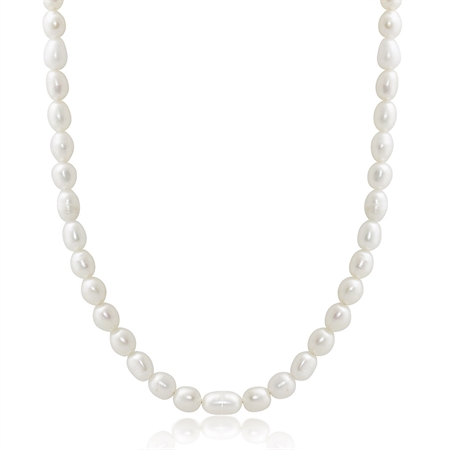 4.5MM Cultured White Pearl 925 Sterling Silver Girl's 15-17 Inch Adjustable Necklace