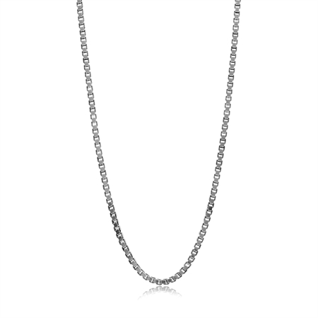 1MM 925 Sterling Silver Venetian Box Chain Necklace - 18 Inch (Oxidized)