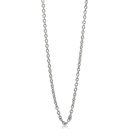 0.8MM White Gold Plated 925 Sterling Silver Single Cable Chain Necklace 14-30 Inch