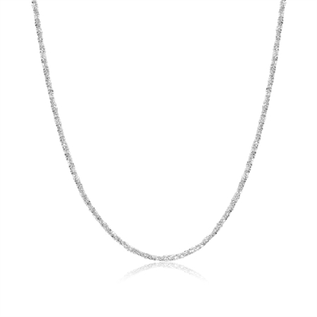 1.2MM Twisted Diamond Cut Chain 925 Sterling Silver Necklace - 16 Inch.
