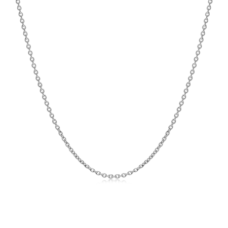 1.2MM White Gold Plated 925 Sterling Silver Single Cable Chain Necklace 15 Inch