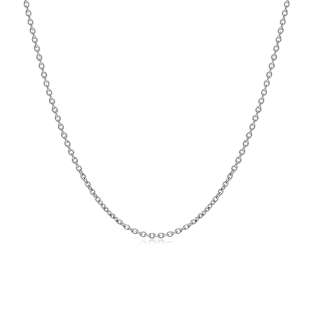1.2MM White Gold Plated 925 Sterling Silver Single Cable Chain Necklace 14 Inch