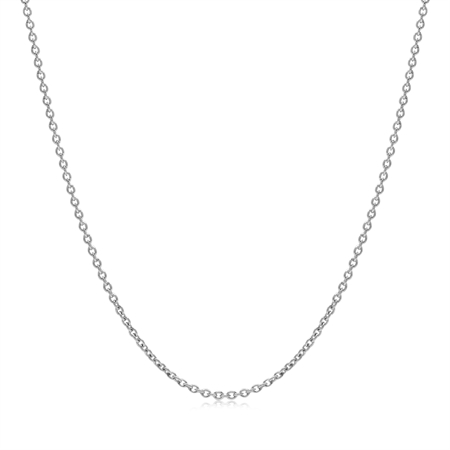 1.2MM White Gold Plated 925 Sterling Silver Single Cable Chain Necklace 20 Inch