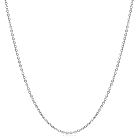 1.2MM White Gold Plated 925 Sterling Silver Single Cable Chain Necklace 30 Inch