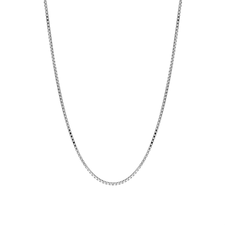 1 mm 925 Sterling Silver Venetian Box Chain Necklace with Rhodium Plating 17 Inch