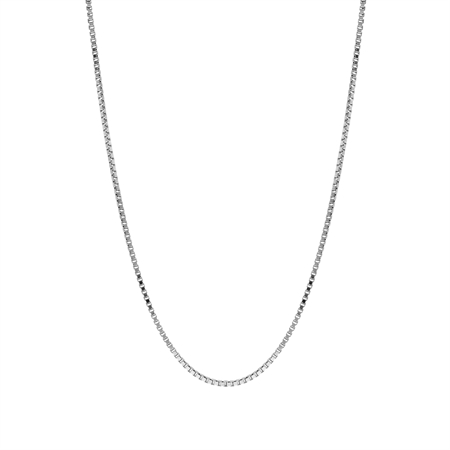 1 mm 925 Sterling Silver Venetian Box Chain Necklace with Rhodium Plating 20 Inch