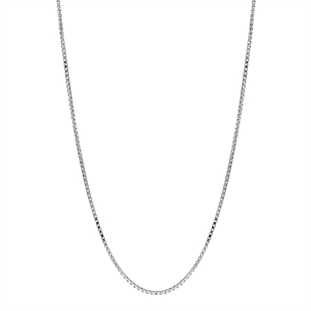 1 mm 925 Sterling Silver Venetian Box Chain Necklace with Rhodium Plating 30 Inch