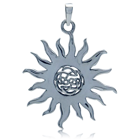 Celtic Knot Sterling Silver Sun Pendant