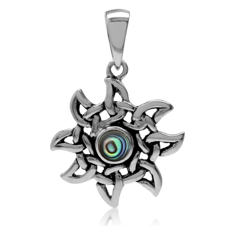 Petite Abalone/Paua Shell 925 Sterling Silver Celtic Knot Sun Ray Inspired Pendant