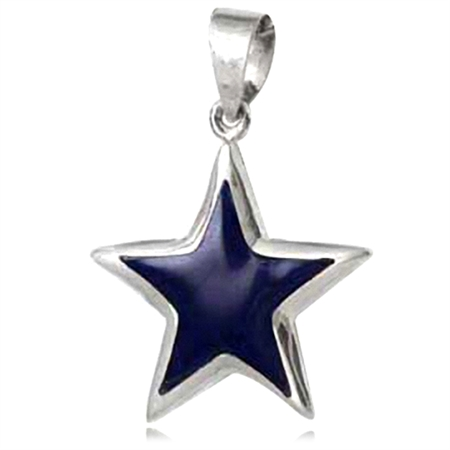 Created Blue Lapis Inlay White Gold Plated 925 Sterling Silver Star Pendant
