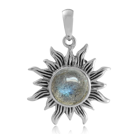 8MM Natural Labradorite 925 Sterling Silver Sun Ray Inspired Solitaire Pendant