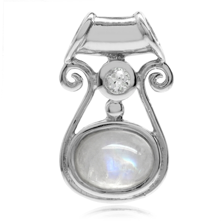 Petite Natural Moonstone & White Topaz 925 Sterling Silver Gothic Pendant