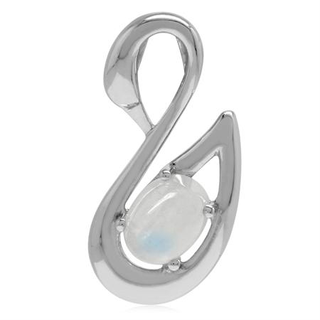 8x6MM Natural Oval Shape Moonstone Moonstone 925 Sterling Silver SWAN Pendant