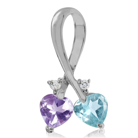 Natural Amethyst & Blue Topaz 925 Sterling Silver Twin Heart Pendant