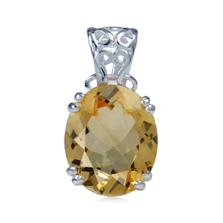 4ct. Natural Citrine 925 Sterling Silver Filigree Solitaire Pendant