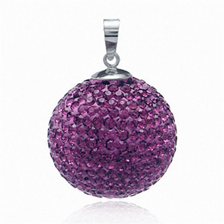 19MM Amethyst Purple Crystal Sterling Silver Crystal Ball Pendant
