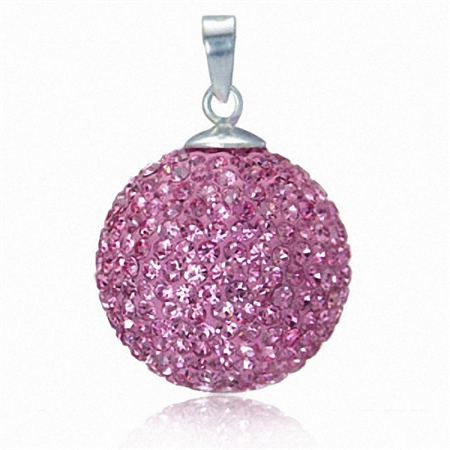 19MM Light Rose Pink Crystal Ball Sterling Silver Pendant