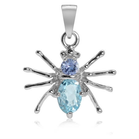 Petite Genuine Blue Topaz & Tanzanite 925 Sterling Silver Spider Pendant