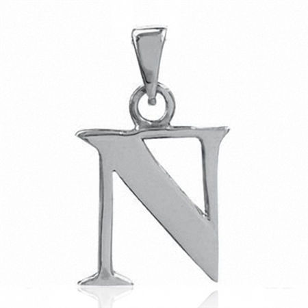 925 Sterling Silver Alphabet/Initial N Charm Pendant
