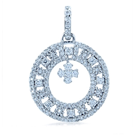 Dangle White Cubic Zirconia (CZ) Sterling Silver Donut Shape Pendant