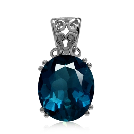 6.35ct. Genuine London Blue Topaz 925 Sterling Silver Filigree Solitaire Pendant
