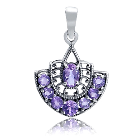 1.26ct. Natural Amethyst 925 Sterling Silver Filigree Pendant