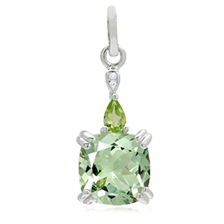 3.5ct. Natural Green Amethyst, Peridot & White Topaz 925 Sterling Silver Pendant