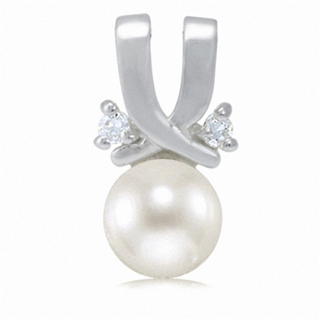 Cultured White Pearl & White CZ 925 Sterling Silver Pendant