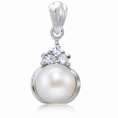 7.5MM Cultured Freshwater White Pearl & CZ 925 Sterling Silver Pendant