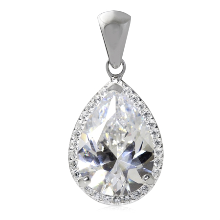 HUGE CZ White Gold Plated 925 Sterling Silver Teardrop Pendant
