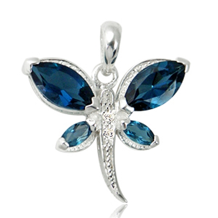 2.46ct. Genuine London Blue & White Topaz 925 Sterling Silver Dragonfly Pendant