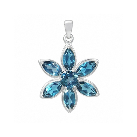 4.7ct. Genuine London Blue Topaz 925 Sterling Silver Flower Cluster Pendant