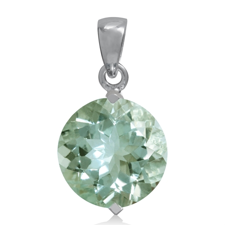 5.45ct. 12MM Round Natural Green Amethyst White Gold Plated 925 Sterling Silver Solitaire Pendant