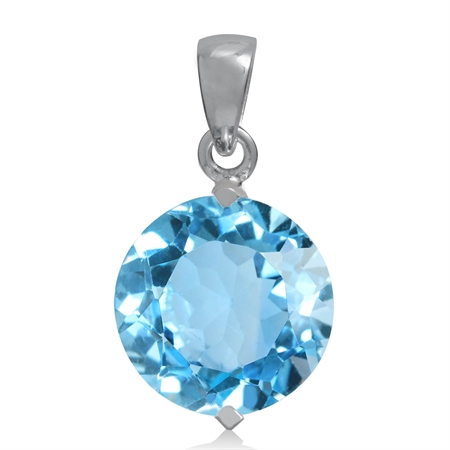 8.2ct. 12MM Genuine Round Shape Blue Topaz White Gold Plated 925 Sterling Silver Solitaire Pendant