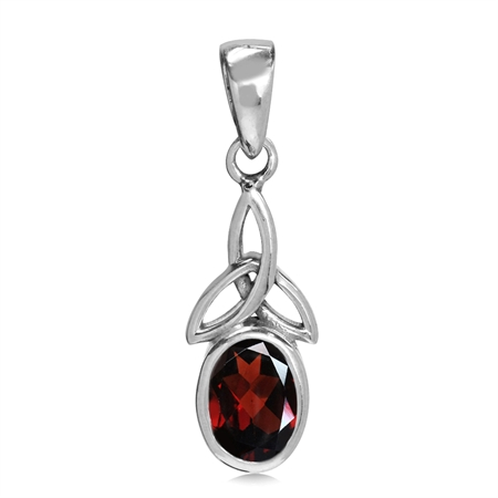 Natural Garnet White Gold Plated 925 Sterling Silver Triquetra Celtic Knot Pendant