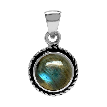 Natural Labradorite 925 Sterling Silver Rope Solitaire Pendant