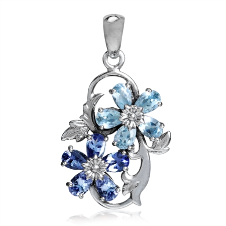 Genuine Blue Topaz & Tanzanite 925 Sterling Silver Flower & Leaf Pendant