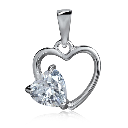 Heart Shape White CZ 925 Sterling Silver Solitaire Pendant