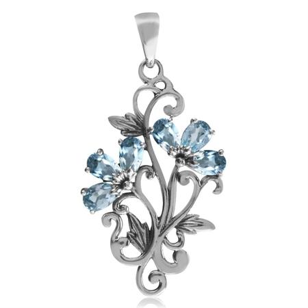 1.8ct. Genuine Blue Topaz 925 Sterling Silver Victorian Style Flower & Leaf Pendant