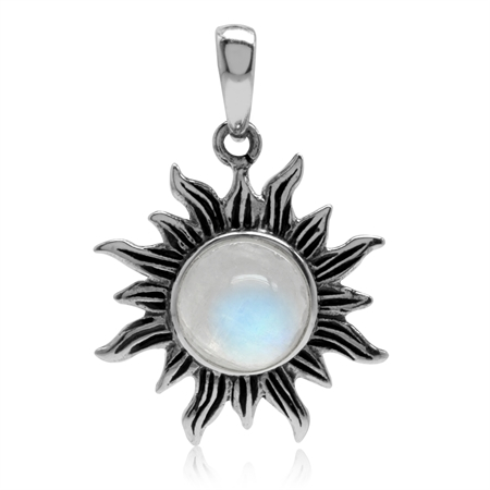 Natural Moonstone 925 Sterling Silver Sun Ray Inspired Solitaire Pendant