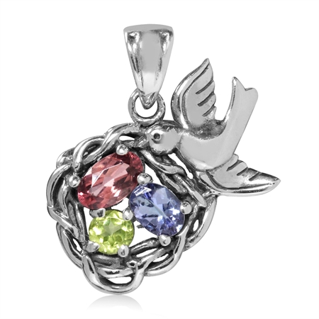 Natural Pink Tourmaline, Tanzanite & Peridot 925 Sterling Silver BIRD NEST Pendant