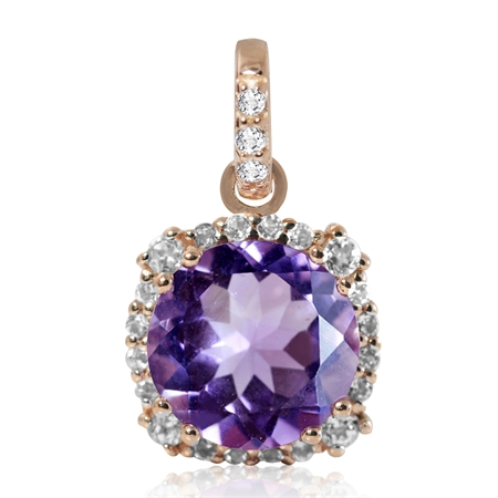 3.06ct. 10MM Natural Round Shape Amethyst & White Topaz Rose Gold Plated 925 Sterling Silver Pendant