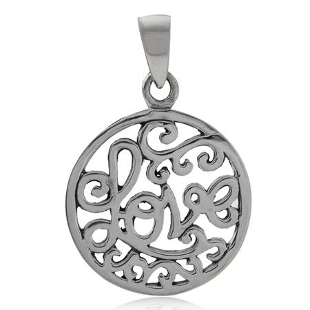 925 Sterling Silver FILIGREE SWIRL LOVE Circle Pendant