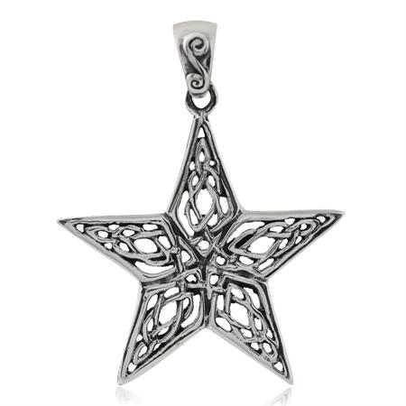 925 Sterling Silver Celtic Knot Star Pendant
