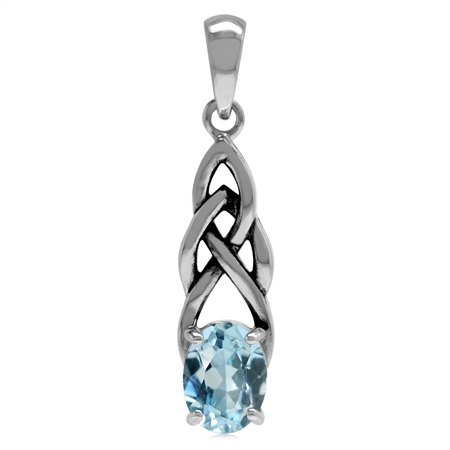 1.5ct. Genuine Blue Topaz 925 Sterling Silver Celtic Knot Solitaire Pendant