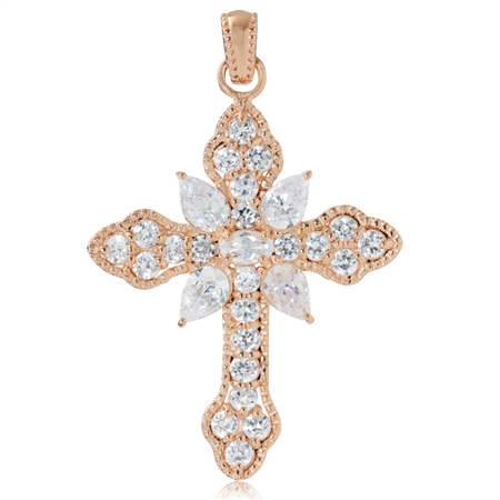 White Cubic Zirconia (CZ) Rose Gold Plated 925 Sterling Silver Vintage Style Cross Pendant