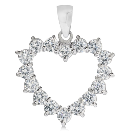 Round Shape CZ White Gold Plated 925 Sterling Silver Heart Pendant