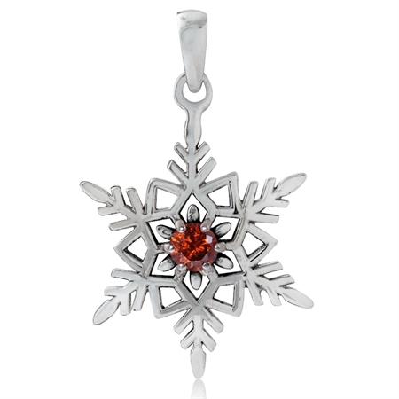 Garnet CZ 925 Sterling Silver Snowflake Pendant