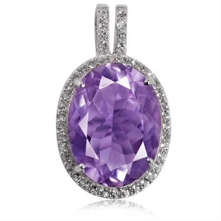 HUGE 8.09ct. Natural Amethyst & Topaz White Gold Plated 925 Sterling Silver Pendant